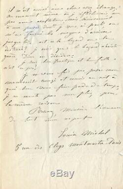 Louise Michel Autograph Letter Signed I Am Fanatic
