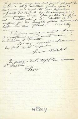 Louise Michel Autograph Letter Signed More We Minsulte More I Look Up