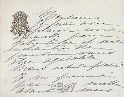 Madeleine Lemaire Painter Signed Autograph Card Illustration Paul Hervieu