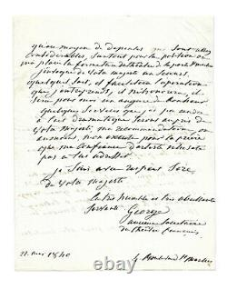 Mademoiselle George / Autograph Letter Signed / Louis-philippe 1st / Theatre