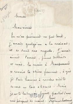 Mallarme Maupassant Villiers Poet Autograph Letter Signed