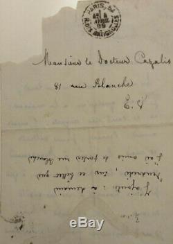 Mallarme Maupassant Villiers Poet Signed Autograph Letter