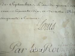 Manuscript Letter Patente Signee By Louis XV 1770 On Velin