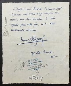Marcel Pagnol Autograph Letter Signed Envelope Als + 4 Pages 1930