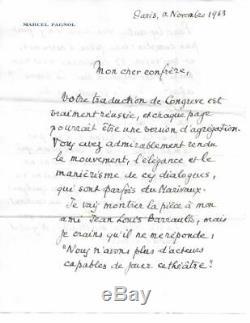 Marcel Pagnol Signed Autograph Letter