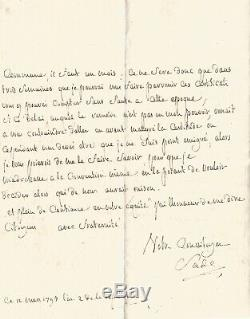 Marquis De Sade / Autograph Letter Signed / I'll Never Emigrated In 1793