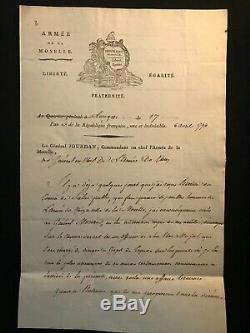 Marshal Jourdan / Signed Letter (1794) / Army Of The Moselle / Longwy / Moreau