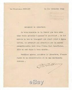 Marshal Petain / Signed Letter (1924) / The Director Des Chemins De Fer