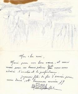 Maurice Original Drawing Ink Buffet Signed Letter Illustrated Autograph Laval