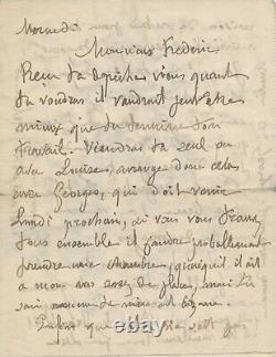 Maximilian Luce Painter Autograph Letter Signed With 2 Drawings To His Son