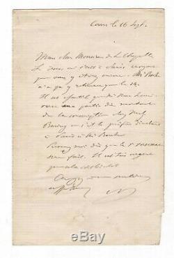Napoleon III / Letter Autograph Signed / Tours / Count La Chapelle