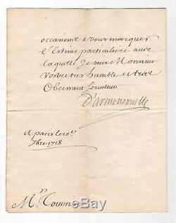 On Fleuriau Armenonville / Signed Letter (1718) / Regency / Louis XV / Autograph