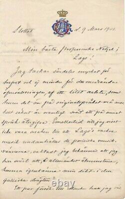 Oscar II De Sweden 1829-1907 Autograph Letter Signed On Fantasie Mounel Sully