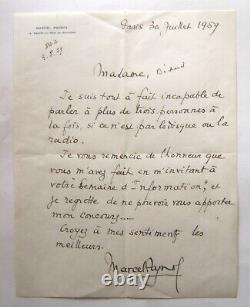 Pagnol Marcel Signed Autograph Letter, Refusal To Participate In A Radio Program