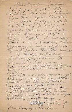Painter Georges Lorin Autograph Letter Signed Maurice Rollinat Frantz Jourdain