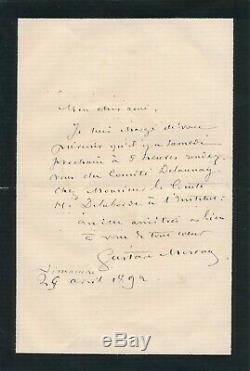 Painter Gustave Moreau Autograph Letter Signed Elie Delaunay Henri Laborde