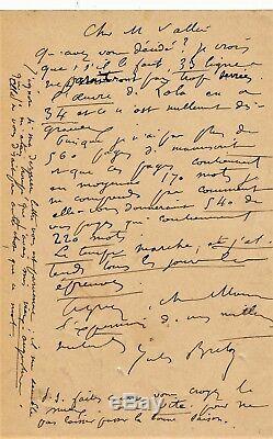 Painter Jules Breton Autograph Letter Signed Sizing Composition Book Lemerre
