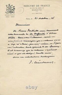 Paul Léautaud Autograph Letter Signed De Profundis Doscar Wilde