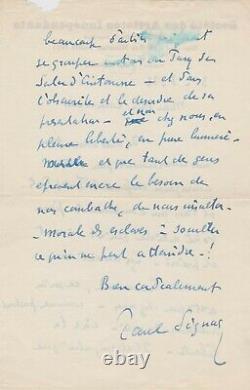 Paul Signac Rare Autograph Letter Signed On His Engagement