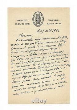 Paul Valery / Autograph Letter Signed / Picasso / His Works / Derain / Virgil