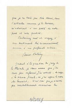 Paul Valéry / Autograph Letter Signed / Poetry / The Pleiades