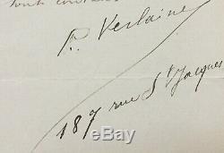 Paul Verlaine Flight Manuscripts By Boudin Autograph Letter Signed -2 p