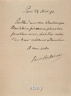 Paul Verlaine Signed Autograph Letter About Charles Baudelaire