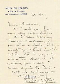 Pianist Rudolf Ganz Autograph Letter Signed American Swiss