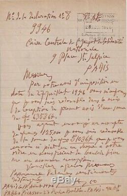 Picasso Autograph Letter Signed Rare 1946