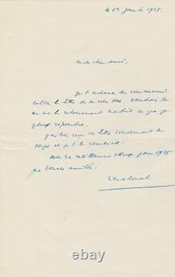 Pierre Laval Autograph Letter Signed Second World War