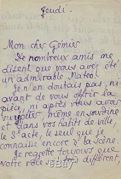 Pierre Louys Autograph Letter Signed To Firmin Gémier