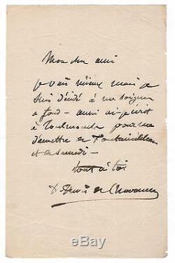 Pierre Puvis De Chavanne / Letter Autograph Signed To Jules-elie Delaunay