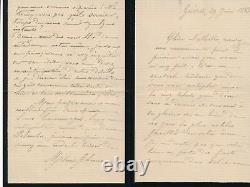 Poésie Mélanie Bourotte 2 Letters Autographs Signed Blanchet Louis De Courmont