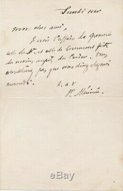 Prosper Mérimée Autograph Note Signed Prince Courmont Monument