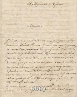 Proudhon Louise Ackermann (1813-1890), Poetess Signed Autograph Letter