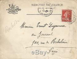 Rachilde Autograph Letter Signed Ernest Lajeunesse. 1908