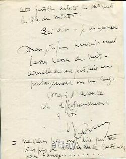 Raimu Beautiful Letter Signed Autograph To Alibert About Rellys And Fanny