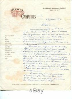 Rare Autographed Letter Signed By Filmmaker Abel Gance January 22, 1954