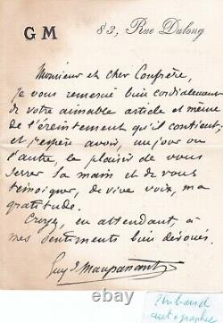 Rare Beautiful Autograph Letter Signed Guy De Maupassant Signature Literature