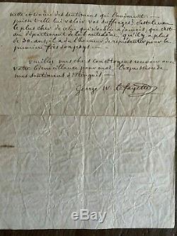 Rare Las Autograph Letter Signed George Washington Fayette America 1848