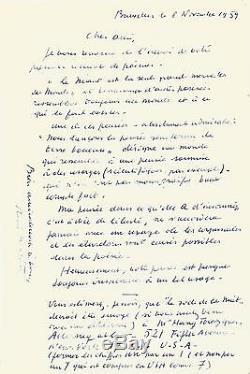 René Magritte Autograph Letter Signed His Friend André Bossants. 1959