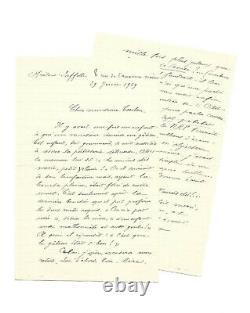 Rimbaud Ernest Delahaye / Signed Autograph Letter / Parnasse / Prison / 1872