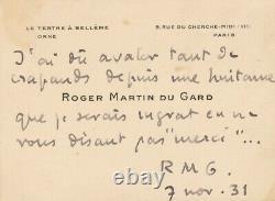 Roger Martin Du Gard Autograph Card Signed Humor Toads