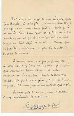 Roger Martin Du Gard Autograph Letter Signed On Pseudonym Jean Barois