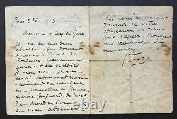 Roland Garros Rare Autograph Letter Signed About His 1913 Aeroplanes