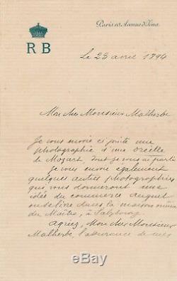 Roland Napoleon Bonaparte Botanical Autograph Letter Signed Ear Mozart