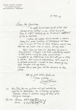 Romain Gary Autograph Letters Signed By Lesley Blanch About Gary