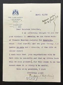 Rudyard Kipling Letter Signed On François Mauriac Signed Letter In 1933