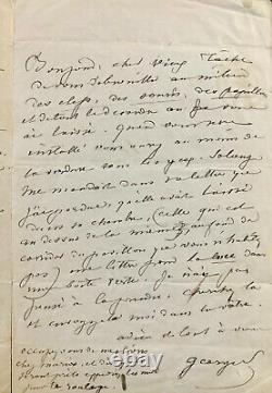 Sand George Autograph Letter Signed Evoking Chopin (1841)