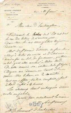 St. Arnaud Autograph Letter Signed Pooke Of Herbinghen Navy Algeria 1850